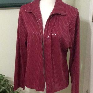 ❤️ EUC Shiny wine colored L/S zip up jacket